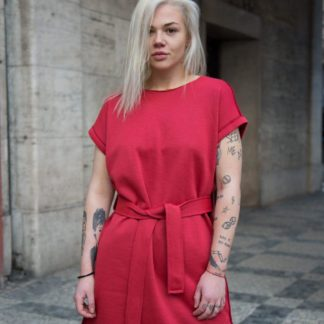 Červené bavlněné šaty s krátkým rukávem, Pavel Berky