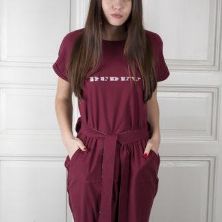 Mikinové bordó šaty